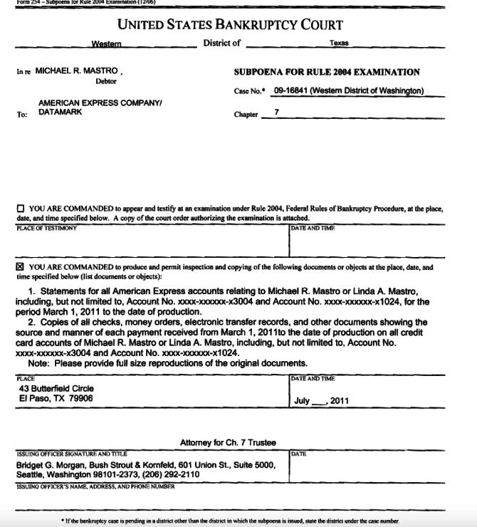 American Express Subpoena